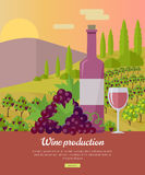 Wine Production Banner. Poster for Rose Vine. Stock Photography