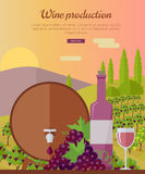 Wine Production Banner. Poster for Rose Vine. Stock Photo