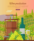 Wine Production Banner. Poster for White Vine. Royalty Free Stock Photo