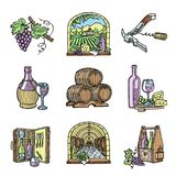 Wine production cellar winery viticulture winey product alcohol farm grape vintage hand drawn vector illustration. Stock Images