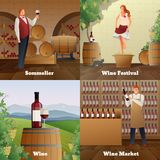 Wine Production Concept Icons Set Stock Image