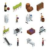 Wine Production Isometric Set. Of grapevine wooden barrels vineyard transporter sommelier rack of vine bottles vector illustration Royalty Free Stock Image