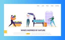 Wine Production Landing Page. Tap of Winemaking are Growing, Gather Squeeze Juice. Fermentaition and the Bottling. Of the Finished Liquid in Barrel Website or vector illustration