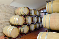 Wine Production. A modern wine cellar with barrels Royalty Free Stock Images
