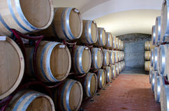 Wine Production. A modern wine cellar with barrels Stock Photo