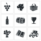Wine production Vector Icons Set Stock Photography