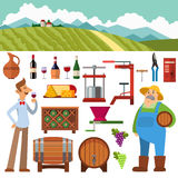 Wine production vector set. Wine making vintage harvest cellar vineyard glass beverage industry. Wine production how wine is made elements infographic. Process Royalty Free Stock Image