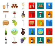 Wine products cartoon,flat icons in set collection for design. Equipment and production of wine vector symbol stock web. Wine products cartoon,flat icons in set stock illustration
