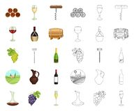 Wine products cartoon,outline icons in set collection for design. Equipment and production of wine vector symbol stock. Illustration royalty free illustration