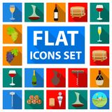 Wine Products Flat Icons In Set Collection For Design. Equipment And Production Of Wine Vector Symbol Stock Web Royalty Free Stock Photos