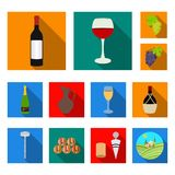 Wine products flat icons in set collection for design. Equipment and production of wine vector symbol stock web Royalty Free Stock Image