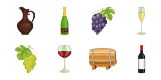 Wine products icons in set collection for design. Equipment and production of wine vector symbol stock web illustration. Wine products icons in set collection Stock Images