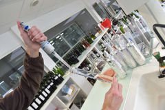 Wine quality control testing in laboratory. Wine quality control testing in modern laboratory Stock Images