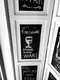 Wine quotes. Life is too short. Drink good wine stock photo