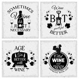 Wine Quotes Typographic Monochrome Emblems. With grape bunch and vines wooden barrel and bottle  vector illustration Royalty Free Stock Photo