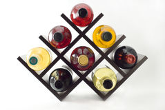 Wine rack. With a few bottles Stock Photos