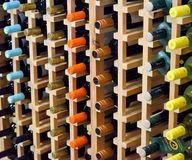 Wine rack with bottles Stock Photography