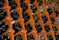 Wine rack full of bottles Royalty Free Stock Photo