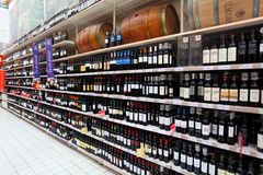 Wine rack in the supermarket Royalty Free Stock Photo