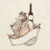 Wine Rat. This design can use for tshirt label or just art print, you can add text manualy by your self file format eps vector layered colors Royalty Free Stock Photos