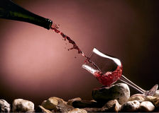 Wine on red Royalty Free Stock Image