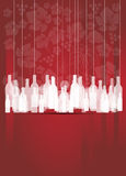Wine red abstract background with bottles. Hanging Royalty Free Stock Photos