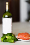 Wine and a red fish Stock Photo
