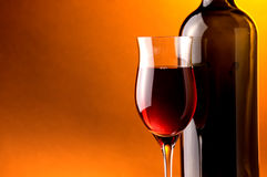 Wine red glass and bottle Stock Photo