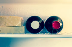 Wine in refrigerator Royalty Free Stock Photography