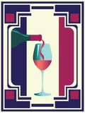 Wine retro poster. Minimalist style poster with glass and bottle of wine design royalty free illustration