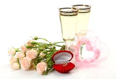 Wine and ring Royalty Free Stock Photography