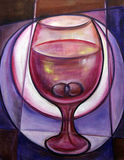 Wine with rings. Fine art painting of a glass with two rings inside Stock Photos