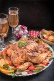 Wine and roasted turkey Stock Photo