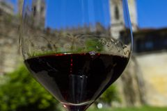 Wine with romance. Wine and castle. Castles of Tuscany wine region of Chianti, Italy. Monastery located in the hills of one Badia Passignano, Tuscany Italy royalty free stock image