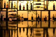 Wine Room`s Grand Clarion Kendari. The types of wine in the show in a special room with a cool design of the arrangement royalty free stock photo