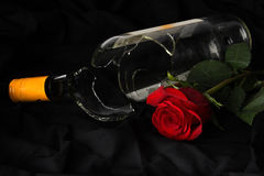Wine and Rose Royalty Free Stock Image
