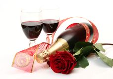 Wine and rose Stock Image