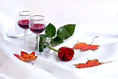 Wine with rose. Background can use the Internet, print advertising and design Stock Images