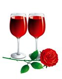 Wine and rose. Two Vector Wineglasses and red rose on white background Royalty Free Stock Photography