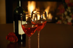 Wine and rose Royalty Free Stock Photography