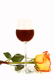 Wine and rose Royalty Free Stock Images