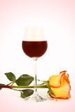 Wine and rose Stock Photo