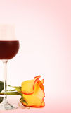 Wine and rose Stock Photos