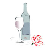 Wine and rose. Abstract illustration of a wine bottle, glass and rose Stock Images