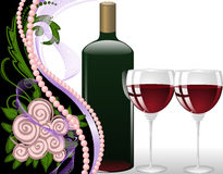Wine and Roses. Wine on black and white background with pearls and a bouquet of roses Stock Photos