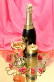 Wine and roses Royalty Free Stock Photos