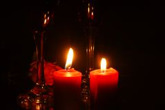 Wine, roses and candles Royalty Free Stock Image