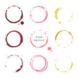 Wine round stains and blots Royalty Free Stock Images