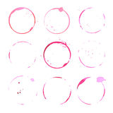 Wine round stains and blots. Set of vector red glass traces. Royalty Free Stock Photography