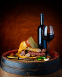 Wine and rustic food Stock Photography